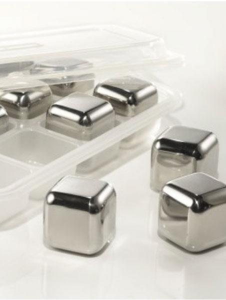 Accessoire – Cubes en Inox. Ensemble de 6 cubes et pince.