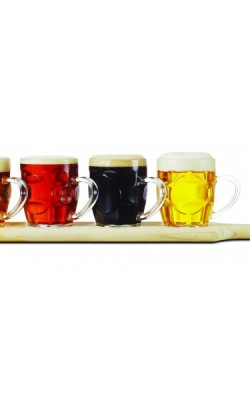 Bière – Ensemble de dégustation de bière. 4 verres et planche de bois