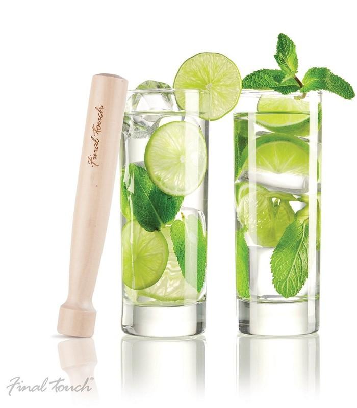 Bar/cocktail – ensemble à mojito. 2 verres et pilon en bois