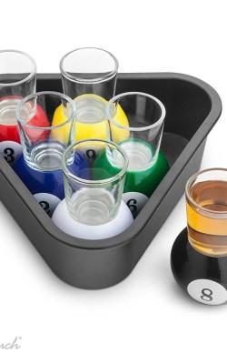 bar/cocktail – ensemble billard de 6 shooters et plateau